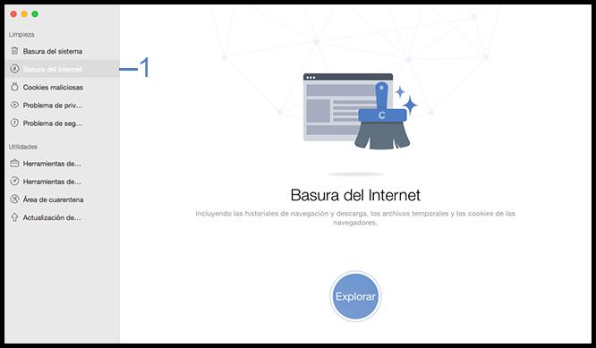 Seleccione la función Basura del Internet