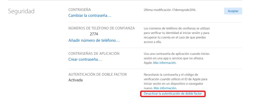 f5578ab017d Cómo Desactivar la Verificación en Dos Pasos para ID de Apple – Paso 6
