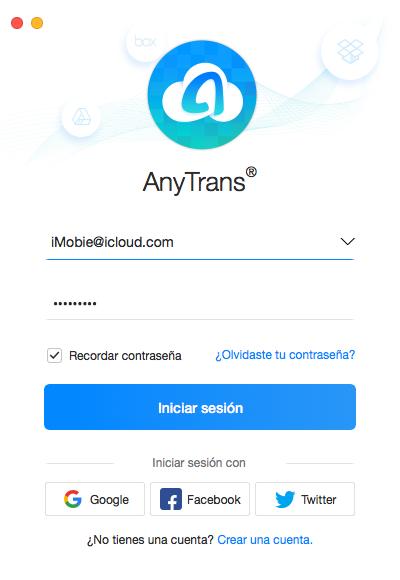 Iniciar sesión en la cuenta de AnyTrans para Cloud