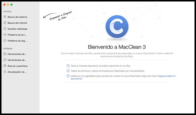 La interfaz principal de MacClean