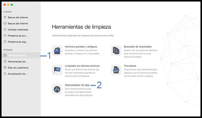 Seleccione la función Desinstalador de App