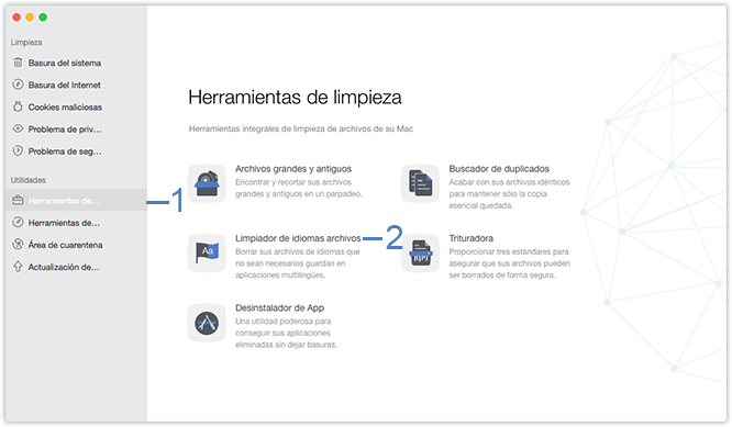 Seleccione la función Limpiador de idiomas archivos