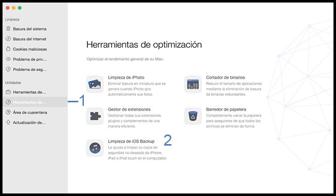 Seleccione la función limpieza de iOS backup