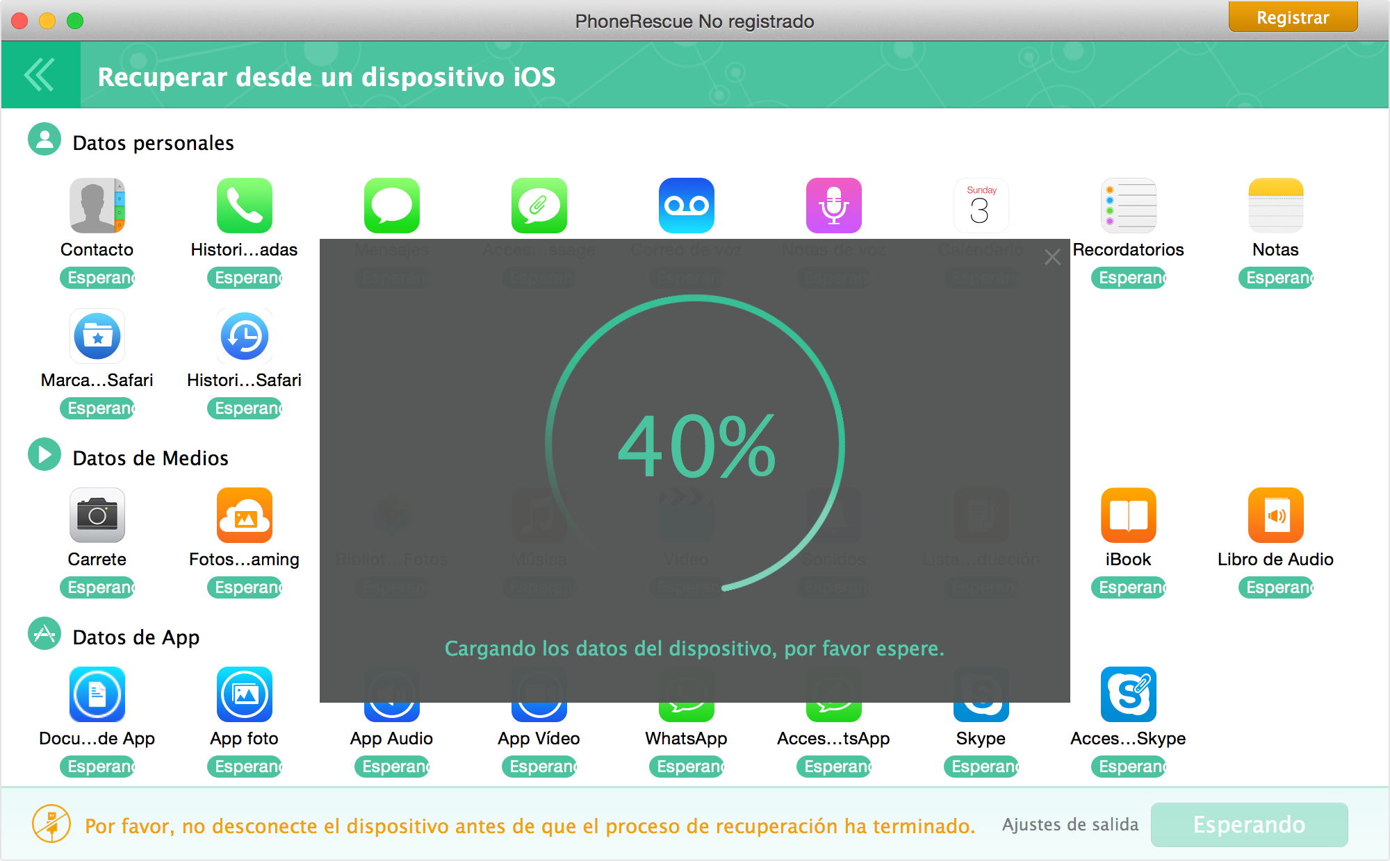 iOS datos escaneado Windows