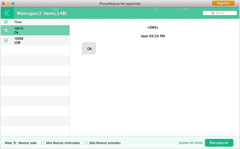 Vista previa de mensajes de interfaz