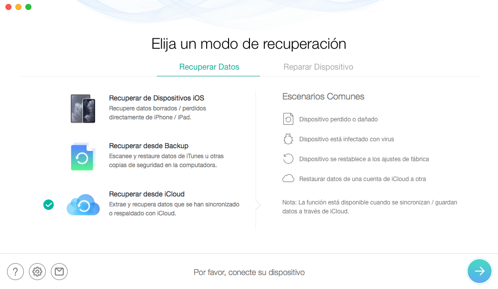 Por favor, conecte el dispositivo iOS