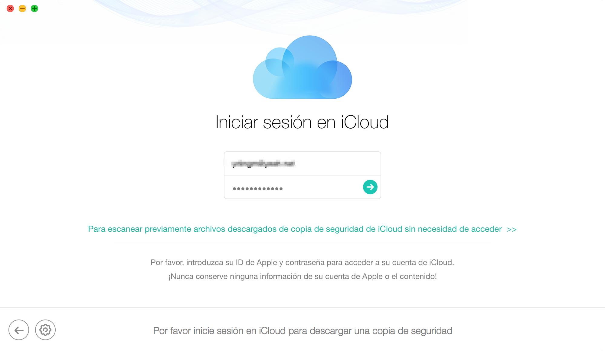 Inicie sesión en iCloud