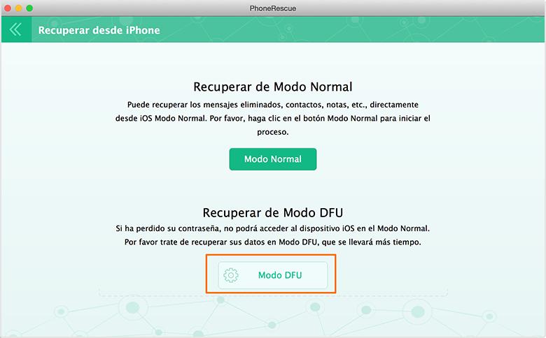 Recuperación de Datos de iPhone - Dos modos de recuperación 3