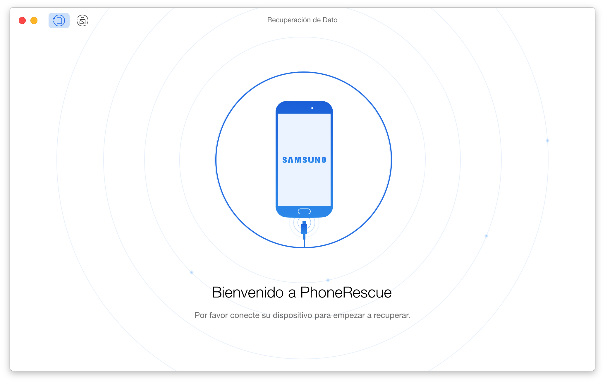 The welcome interface of PhoneRescue for SONY