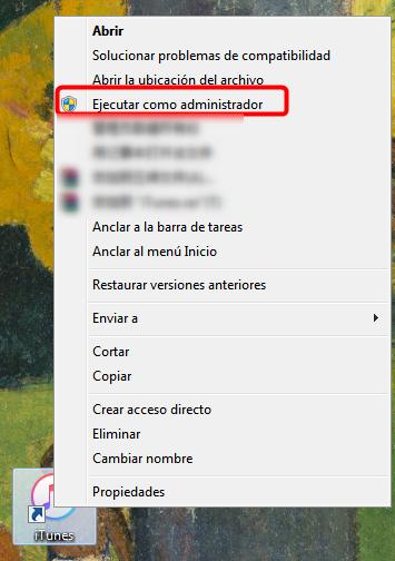 Ejecuta iTunes como administrador