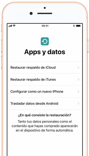 Restaura o transfiere tus aplicaciones y datos