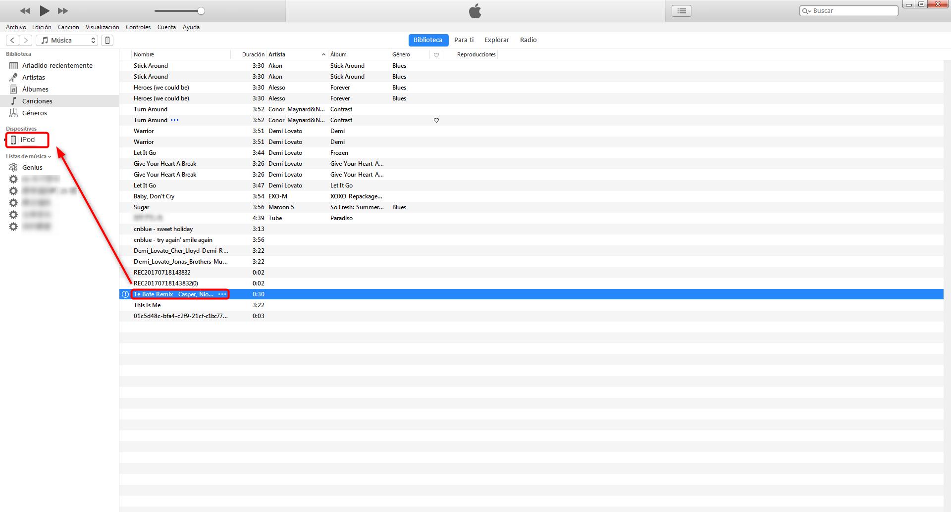 Cómo meterle música a un iPod con iTunes - paso 4