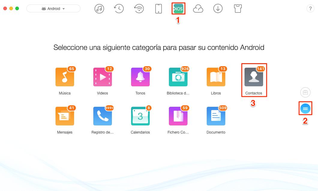 Cómo pasar contactos de  Android a iOS - Paso 2