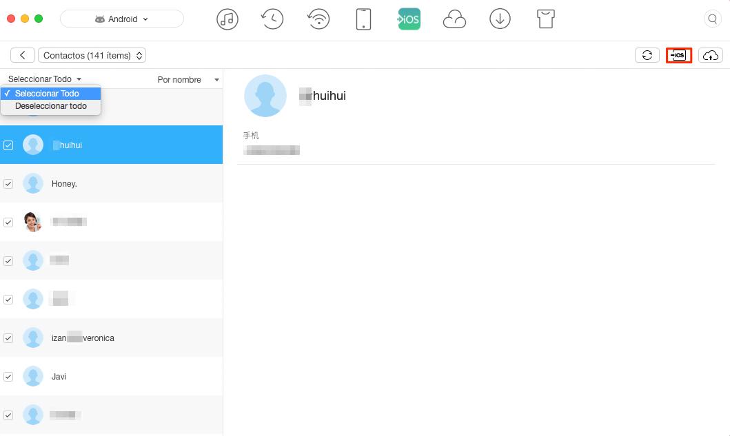 Transferir contactos de Android a iOS - Paso 3