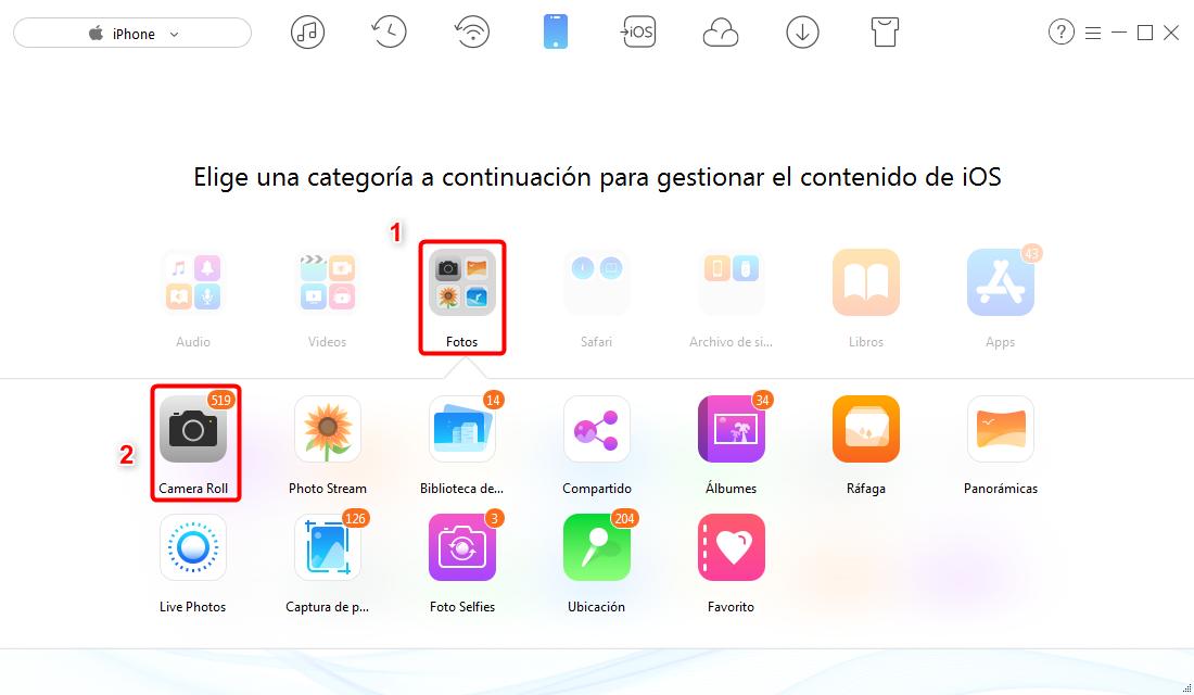 Pasar fotos a iCloud desde iPhone - paso 2
