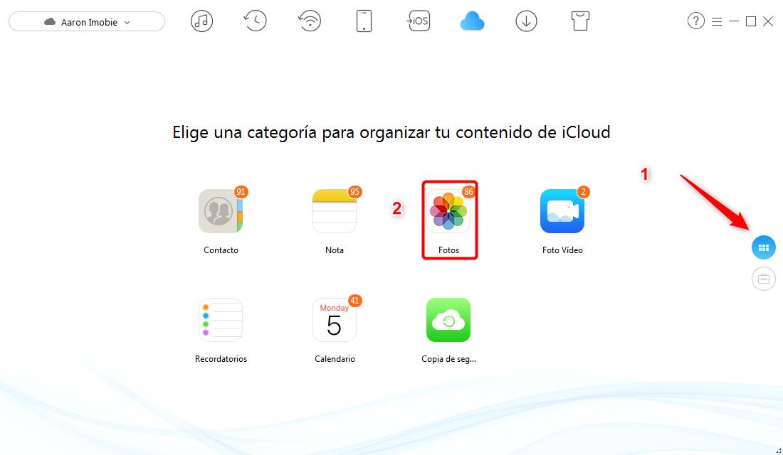 Pasar fotos a iCloud desde ordenador - paso 2