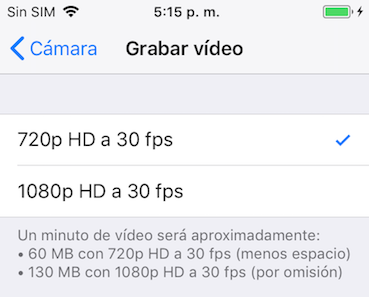 Cómo liberar un iPhone - Reducir la calidad de fotos y videos
