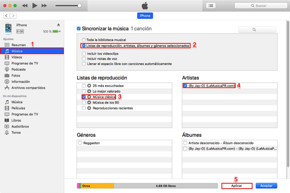 Pasar archivos de PC/Mac al iPhone con iTunes
