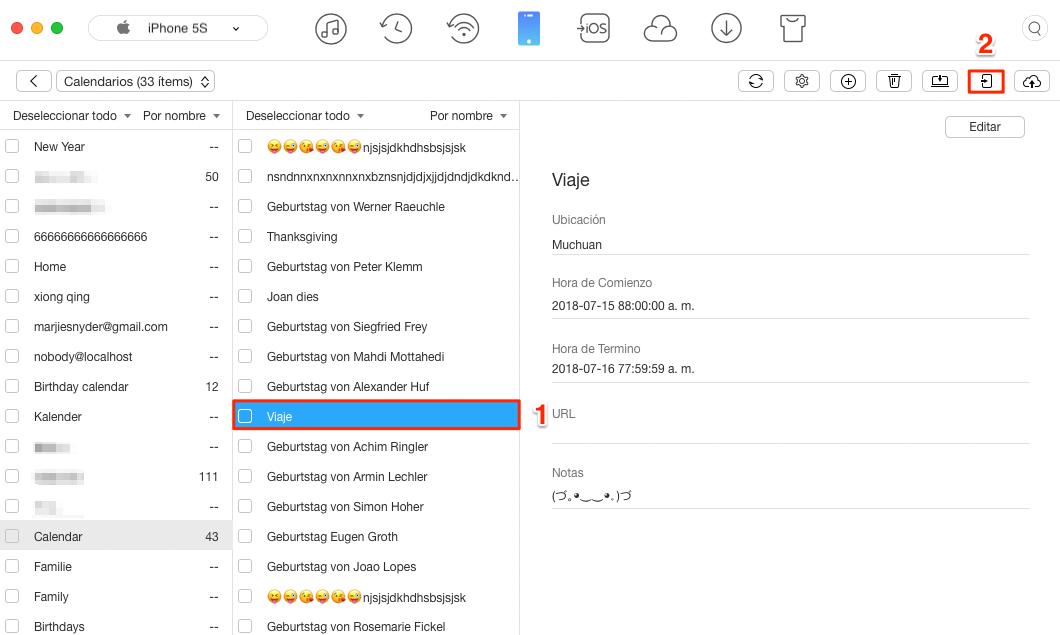 Cómo pasar calendarios de un iPhone viejo a un nuevo iPhone 7 – Paso 3