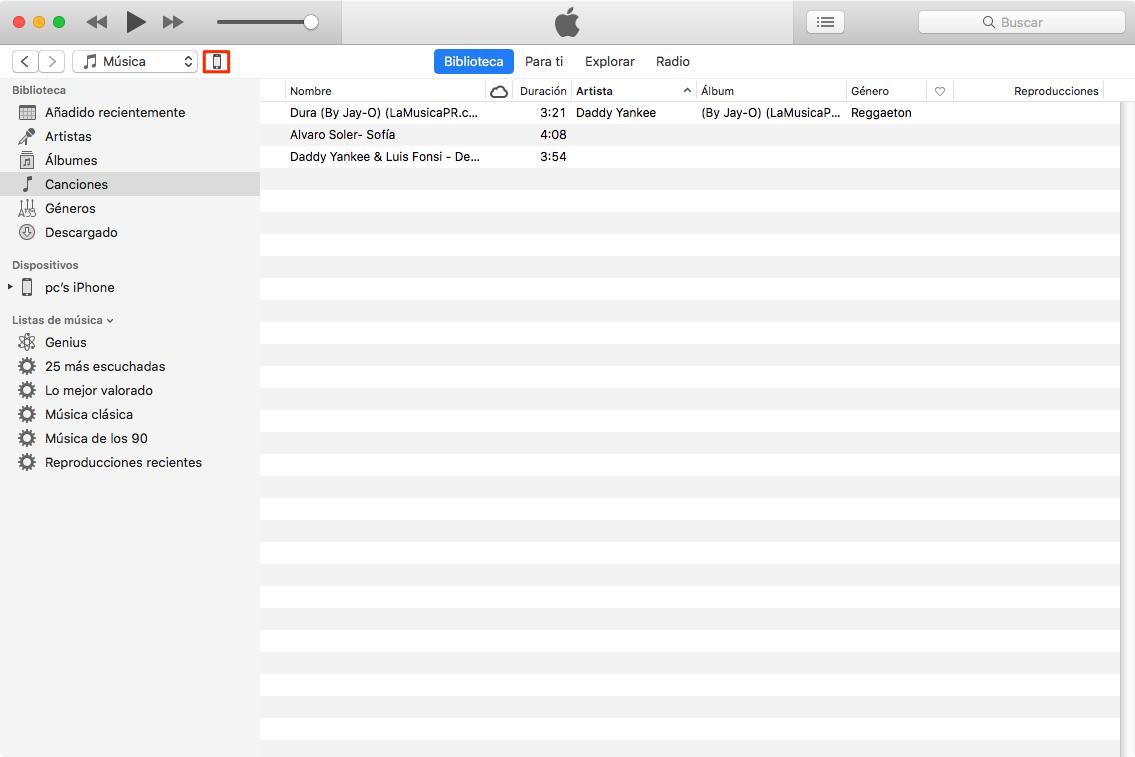 Cómo pasar música de Mac a iPhone con iTunes - Paso 2
