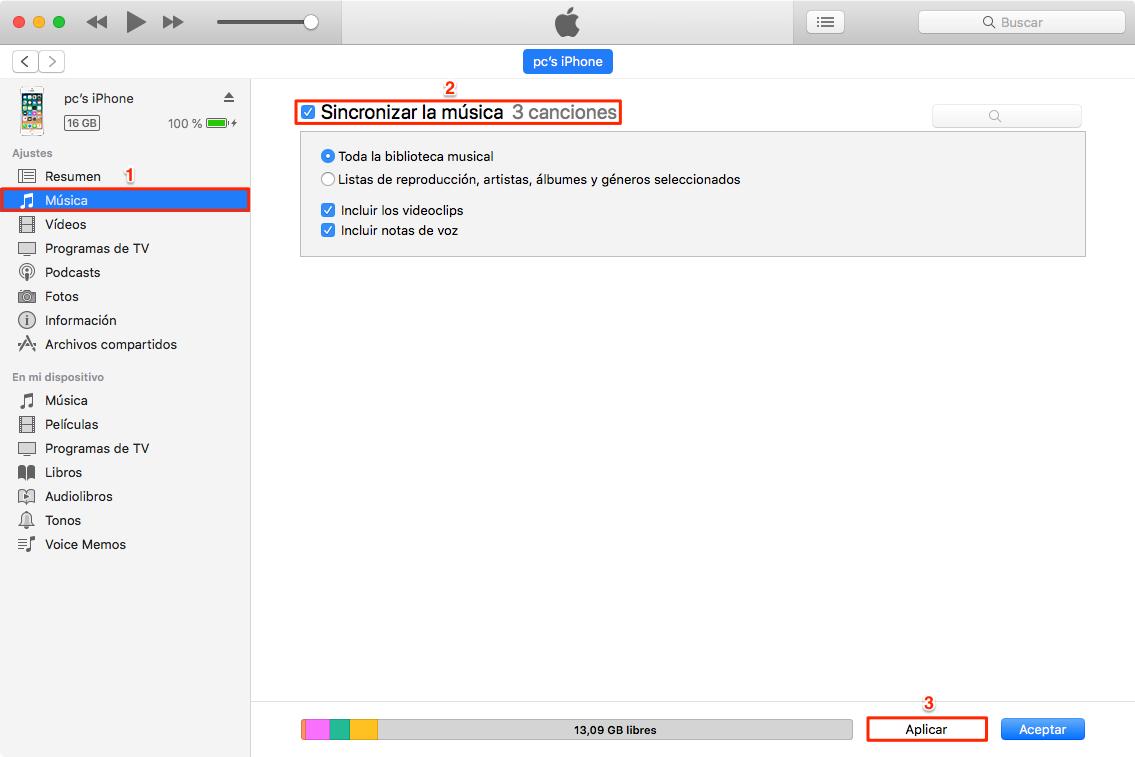 Cómo pasar música de Mac a iPhone con iTunes - Paso 3