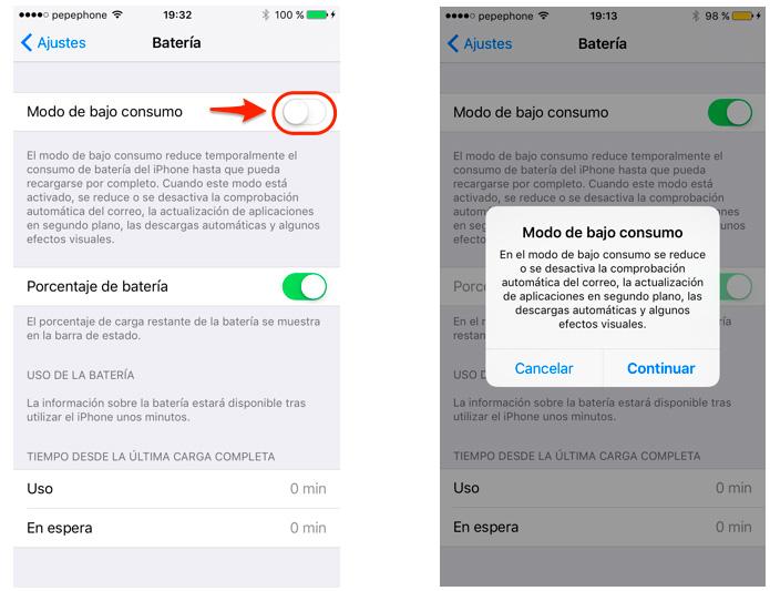 Activa el Modo de bajo consumo en iPhone