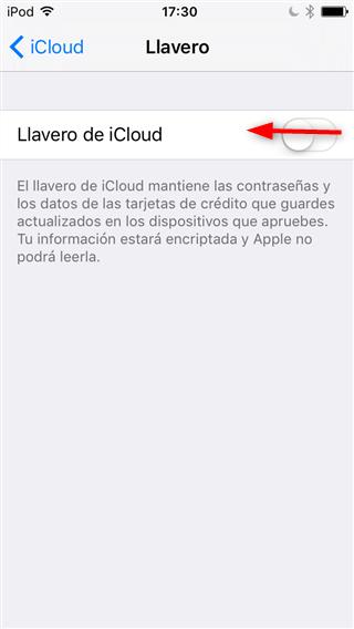 Desactiva Llavero de iCloud