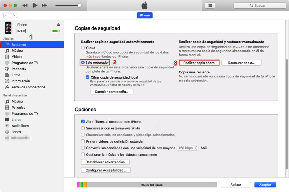Hacer copia de seguridad con iTunes antes de vender iPhone antiguo