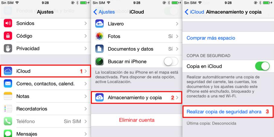 Hacer copia de seguridad con iCloud antes de vender iPhone antiguo