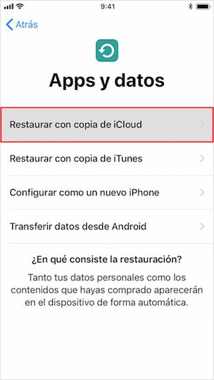 Recuperar mensajes borrados de iPhone - Restaurar con copia de iCloud