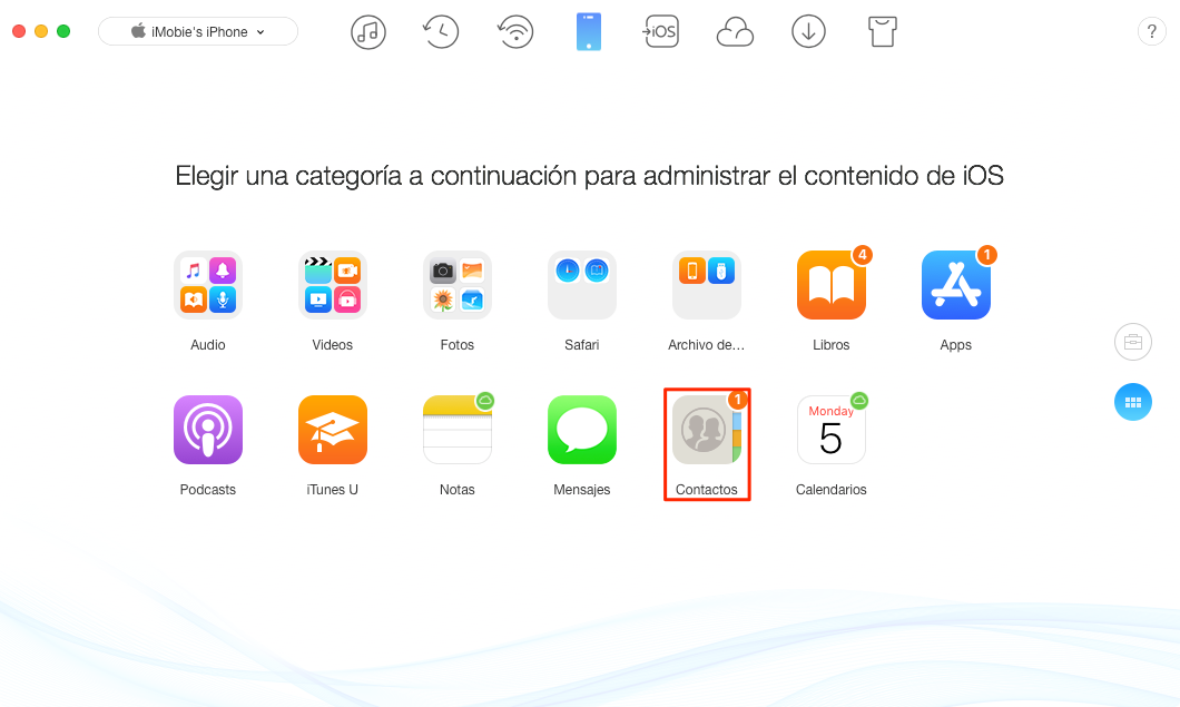 Cómo sincronizar los contactos de iPhone a Mac - Paso 2