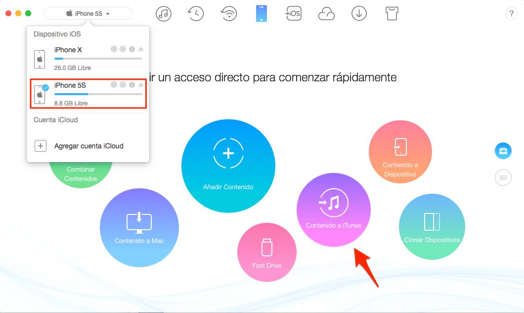 Sincroniza dos iPhones a iTunes con AnyTrans - Paso 1