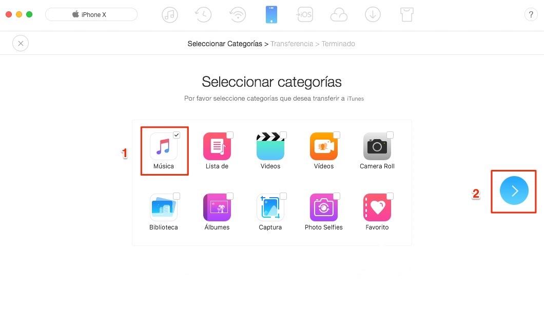 Sincroniza dos iPhones a iTunes con AnyTrans - Paso 2