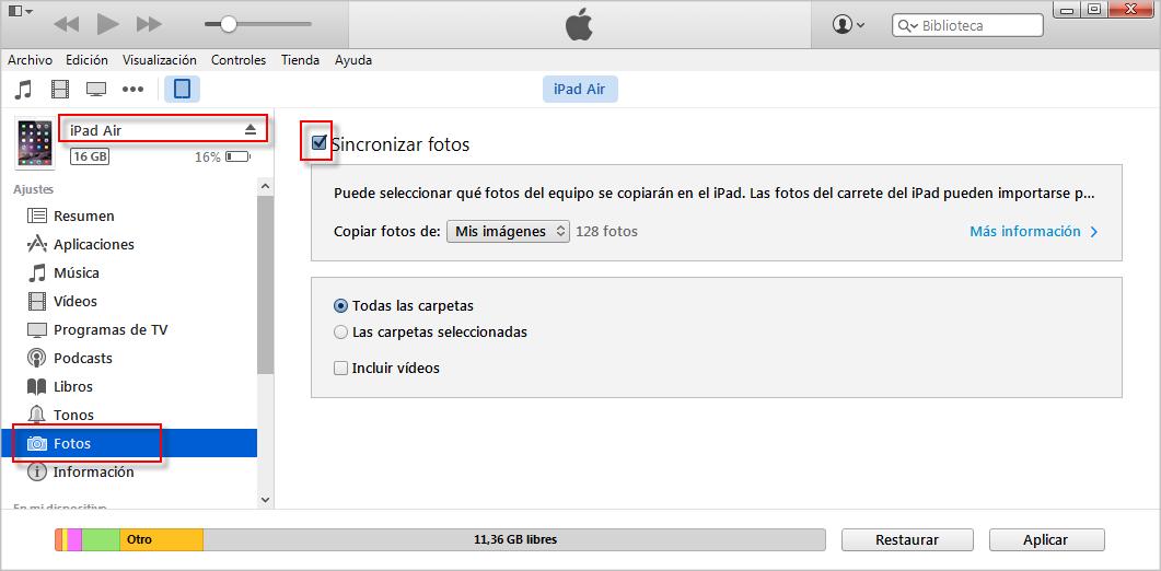 Cómo sincronizar fotos de iPhone a iPad con iTunes