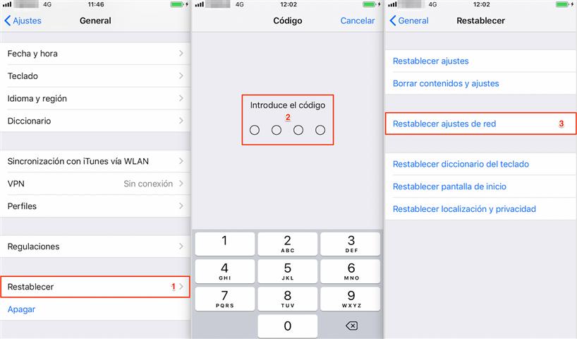 Restablece la configuración de red en el iPhone