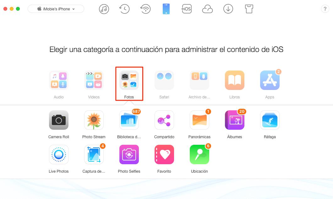 Cómo transferir fotos desde el iPhone al iPad - Paso 2