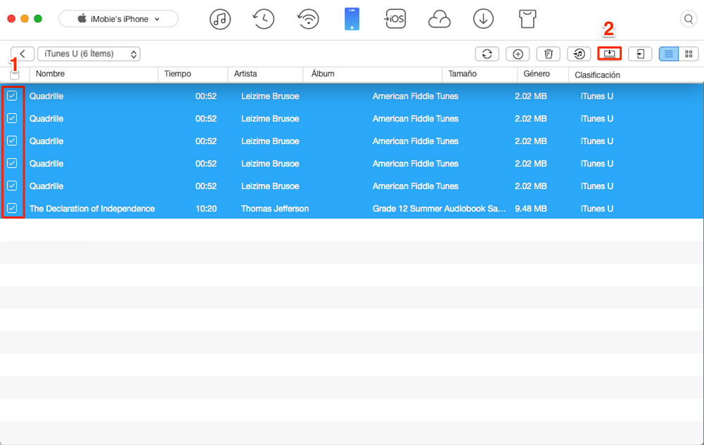 Pasar iTunes U de iPhone al ordenador - Paso 2