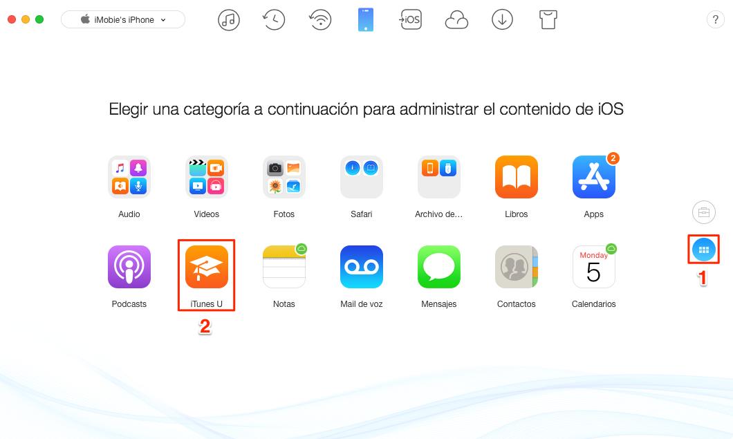 Cómo transferir iTunes U desde iPhone a iTunes - Paso 1