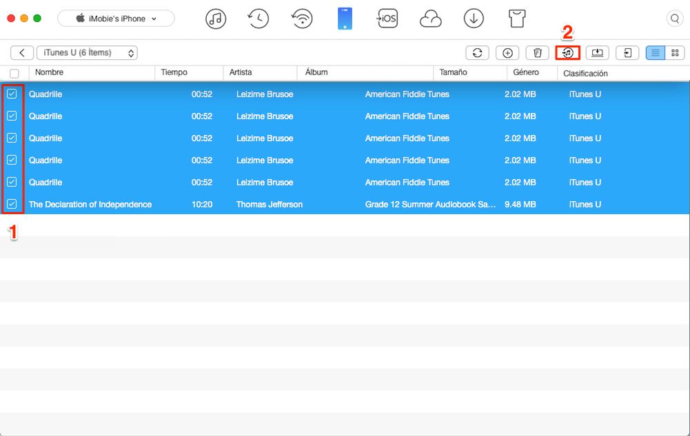 Cómo transferir iTunes U desde iPhone a iTunes - Paso 2