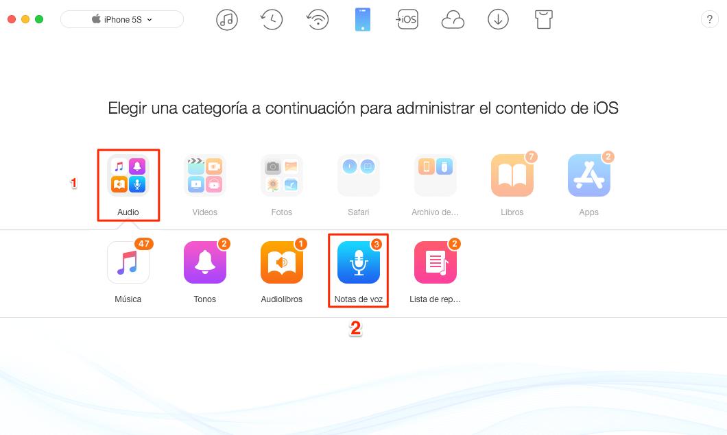 Cómo transferir notas de voz desde el iPhone al iPad - Paso 3