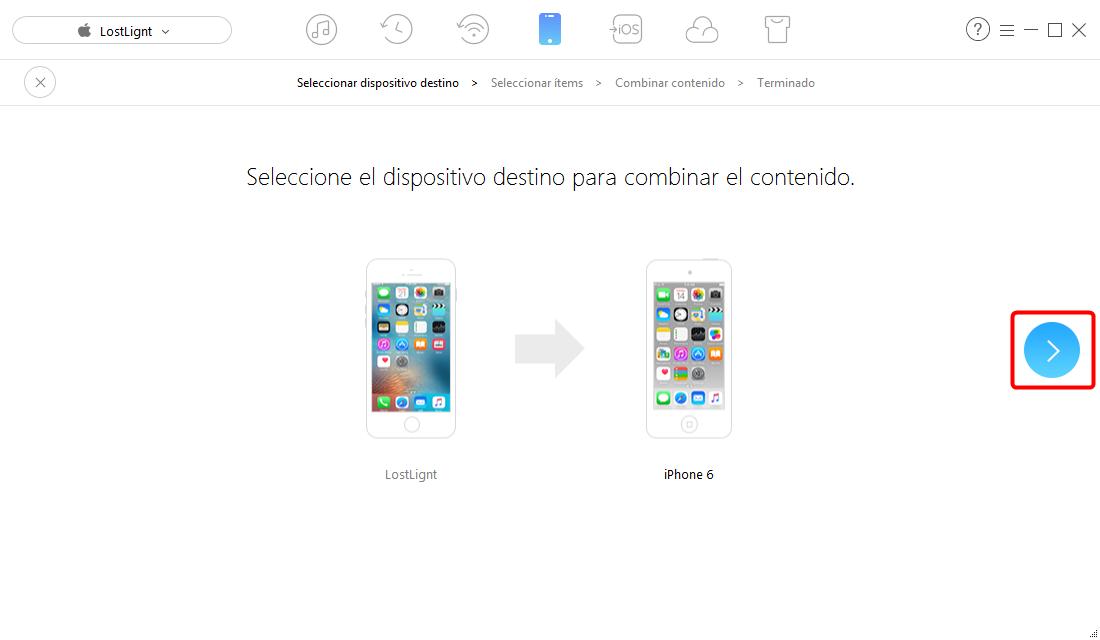 Cómo transferir mensajes de texto desde iPhone a iPhone - paso 2