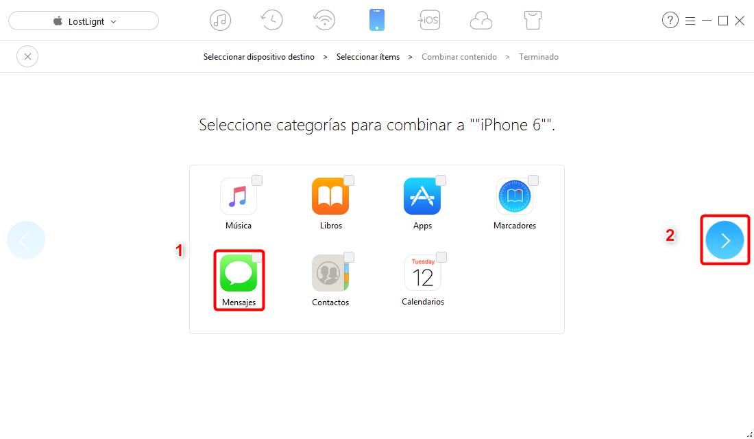 Cómo transferir mensajes de texto desde iPhone a iPhone - paso 3