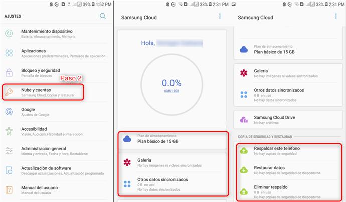Acceder a Samsung Cloud a través del dispositivo móvil