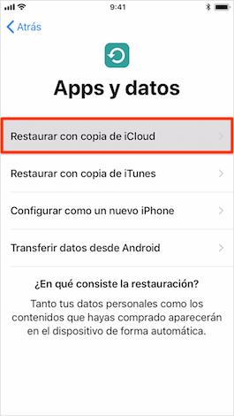 Restaurar con copia de iCloud
