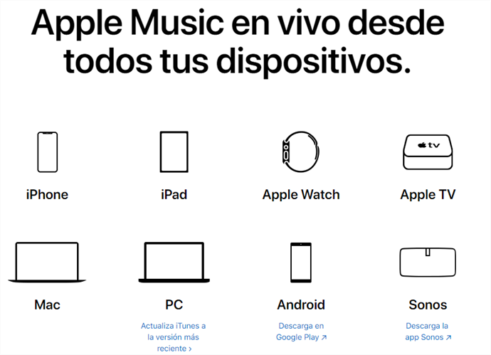 Dispositivos disposibles de Apple Música