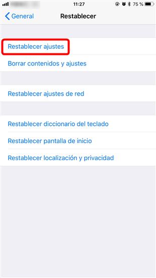 Restablece la configuración de dispositivo iOS