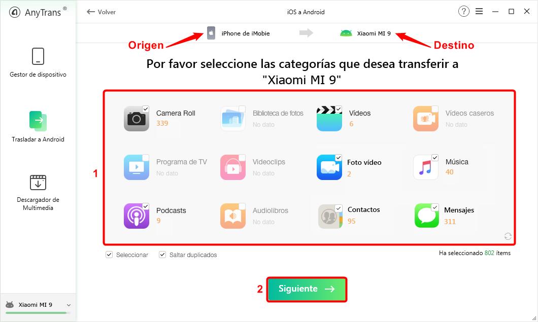 Pasar los datos de iPhone a Xiaomi