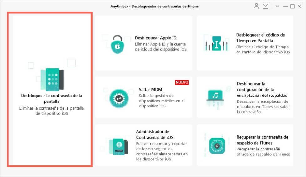 Haga clic en Desbloquear Apple ID desde la pantalla inicial
