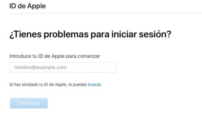 Arreglar Apple ID Bloqueado vía iforgot
