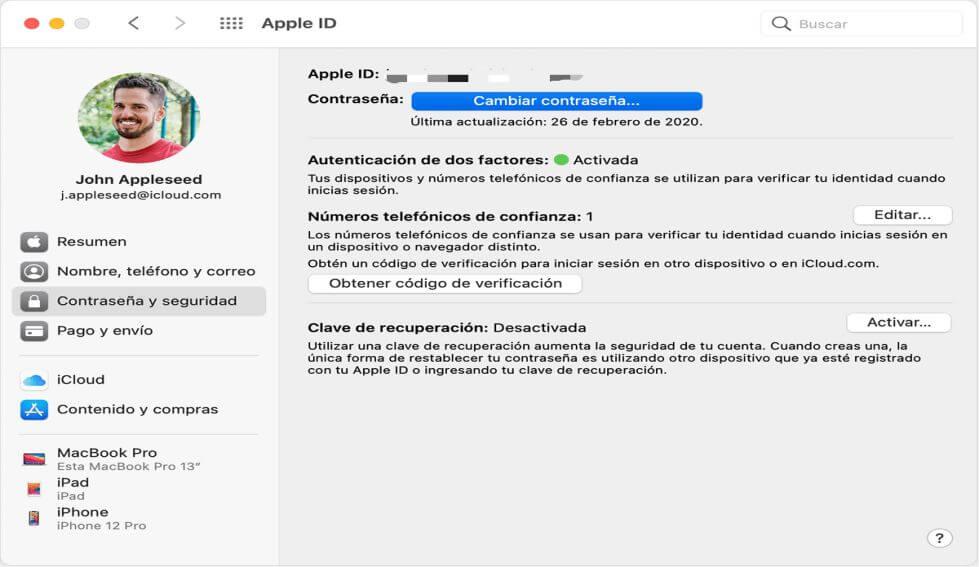 Cambiar contraseña en Mac vía Dos-Factores Autentificación